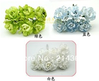 Free shipping hotsale 3.5cm two-color fake  flower with lace for  candy  gift box package paper flower cute