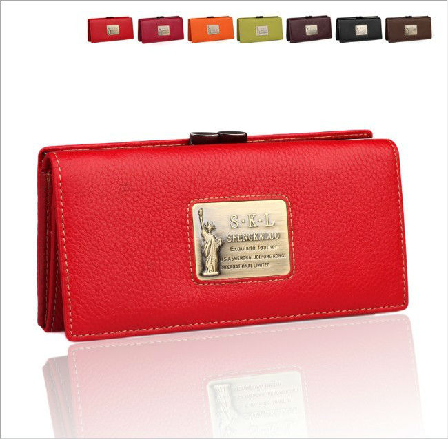 Free shipping, GENUINE LEATHER(COWHIDE) Wallet for Women, Ladie's Fashion Purse, Noble, Evening bag, Day clutches. (hd)711(China (Mainland))