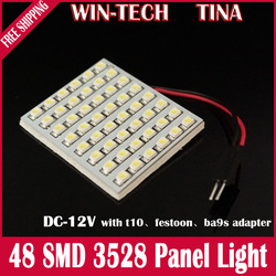 Free Shipping 50 pcs 48 SMD Car LED Panel light 3528 chips dome light Automotive LED bulb white Reading light(China (Mainland))
