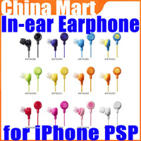 Rainbow Smile In-ear Stereo Earphone Fruit Color for iPod iPhone PSP Samsung Free Shipping + Drop Shipping