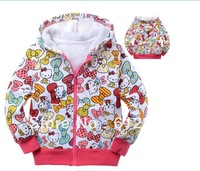 cute hello kitty jackets wool outwears fashion girl's new arrivel hoody 6 pcs a lot free shipping