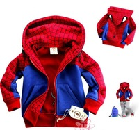 Wholesale,Free shipping -- Children clothes Red SPIDERMAN Boys Coat Thick Hooded jacket boys Jacket Cartoon Clothing 5pcs/lot