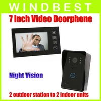 Freeshipping Dropshipping 1-camera to 1-monitor 7 Inch Color Wired Video Door Phone doorphone Doorbell Intercom Kit Night Vision