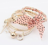 Free shipping wholesales 6pcs/lot fashion multilayers freshwater pearl setting alloy bowknot bangles