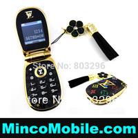 Unlocked Single SIM Card Luxury Phone M9 Leather Flip Mini Mobile Phone with Camera , Bluetooth