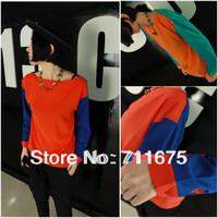 Special price Free shipping 5pcs/lot 9082  fashion perfect color block chiffon shirt wholesale