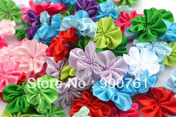 100pcs/lot, 1.5 inches headband  baby small fabric Flower Ruffle Flowers Satin Flower
