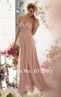 Dusty Pink Strapless Beaded Neckline Evening Dress Prom Gown XS S M L XL 2XL 3XL 4XL