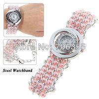 LC 1838 Fashion Rhinestone Decoration Quartz Analog Watch with Round Dial for Female