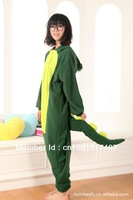 Free Shipping Anime Green Dinosaur Cosplay Costume Japan Kigurumi Pajamas S M L XL