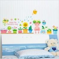 Free shipping The third generation wall stickers flower bonsai background wall tijuexian waistline stickers