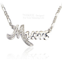 High Quality Platinum Plated Love MUM Necklaces & Pendants Fashion Rhinestone Necklace Respected Jewelry Gift For Mother N1016
