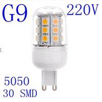 5pcs/lot G9 220V 5W lampada led corn lights 5050 30SMD warm white/cold white led lamp bulb