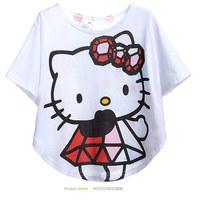 Free shipping 6 pcs/lot Wholesale girls t shirt cartoon designer hello kitty fashion batShirt cotton white shirt for children