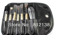 New arrival high quality goat hair Make up Brush 7PCS Set,  With Leather Pouch ,promotion gift on sale factory price