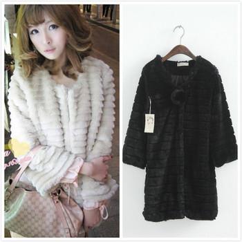2014 new women Faux fur coat Fashion Long style three quarter sleeve Single breasted rabbit fur coat women elegant fur coat