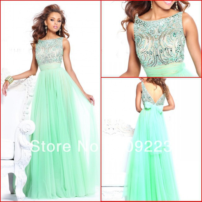Imposing high collar low back heavy beading green chiffon zipper sweep train emerald green evening dress(China (Mainland))