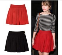 2014 short skirt bust skirt puff half-skirt high waist skirt red,black hot selling