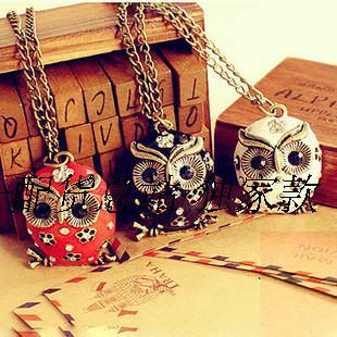 4062 Accessories vintage cutout oil owl long design necklace