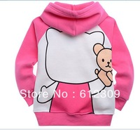 Free shipping(6pcs/lot) Cotton fleece children's jackets fashion girl's hello kitty coats