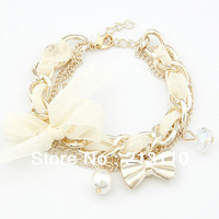2014 New Arrival  Fashion Jewelry  Women pendants fashion white butterfly bow pearl Charm bracelet Free Shipping