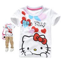 Free shipping 6 pcs wholesale cartoon Children's wear hello kitty summer t shirt KITTY cat pure cotton short t-shirt for girls