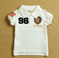Free shipping new 2014 Badge Children t Shirts summer short sleeves for boys and girls Height 90 to 130cm Multiple Colors
