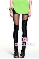 Free shipping leggings fashion black PU patchwork lace sexy ankle length trousers slim women's pant(XS/S/M/L/XL/XXL)
