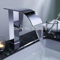 Fashion Waterfall Bathroom Basin Sink Deck Mount Single Hole Chrome Single Handle Vessel Vanity Faucet L-104 Mixer Tap Faucet
