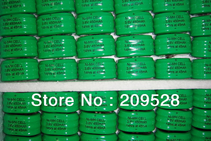 Wholesale High Capacity 3.6V 450mAh Nimh Button Cell Battery Pack with Pins,100packs/lot(China (Mainland))