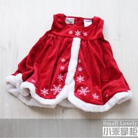 Good Quality NEW Autumn and winter baby female velvet christmas dresses tank dress