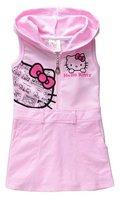 Free shipping 5 pcs/lot Children clothing wholesale hello kitty sundress vest dresses PINK cartoon girls cotton hooded dress