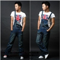 Free shipping new men's denim overalls  sling pants large size jeans Jumpsuit -135
