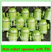 Google Android Robot USB FM Mini Speaker Green, mini usb digital speaker with usb tf fm