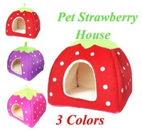 Free Shipping Cute Pet Dog Cat Strawberry House Bed Nest Puppy Cats Soft Beds Plush Warm Luxury House Kennel for Cats  #3305