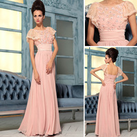2014 Free Shipping wholesale lace  a-line in stock sexy floor length pink  formal  dresses long prom dresses