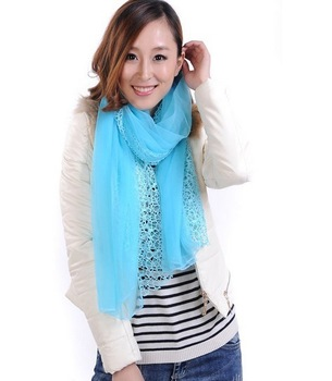Min. order US$10 Free Shipping Large double layer patchwork autumn and winter female scarf lace shawl