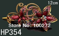 Wholesale Women's vintage zinc alloy rhinestone Butterfly hair clips hair ornament  Free shipping 12pcs lot mixed color HP354