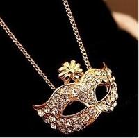 Min.order is $5 (mix order)Free Shipping,Bohemia mask necklace,imitation diamond short necklace(N851)