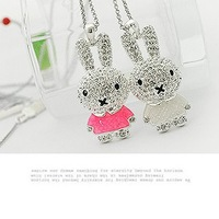 free shipping Small accessories sparkling rabbit long necklace