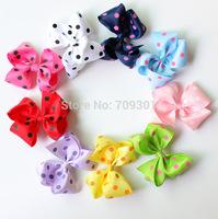 """4.3"""" Hair Bows Polka Dot Bows 9Colors Instock Ribbon Bows 50PCS Free Shipping"""