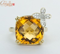 Solid 14k WHITE Gold Natural  12.05CT Yellow Citrine & VS Diamond Ring
