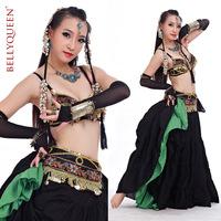 BELLYQUEEN~812# Belly Dance 2Pcs 1bra+1belt ,Belly Dance Wear,Sexy Professional Tribal Belly Dance Costume,Black Color