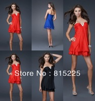 Low Price Sext Short Cocktail Dresses Gown Formal Dress Chiffon Fabric Mini Length Black Red  Sleeveless V-Neck Hot Modest Hot