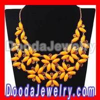 New York Yellow Enchanted Garden Bib Necklaces Flower Wholesale JW0116-17 Free Shipping