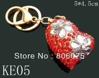 wholesale new fashion heart crystal rhinestone alloy key chains key rings Free shipping 12pcs lot mixed color KE05