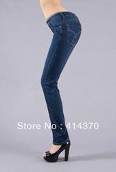 New branded big size ladies' fashion denim pants jeans blue color high quality cheap price fast delivery free Shipping(China (Mainland))