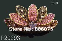 Wholesale Women's vintage zinc alloy rhinestone flowers hair clip Hair Accessories Free shipping 12pcs lot mixed color  F20293
