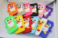 3D Cute Penguin Soft Silicone Back Cover Case Skin for Apple iPhone 5 5th Gen 1000pcs/lot