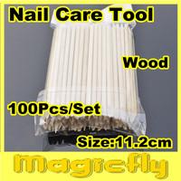 [ZQ-001]100pcs x 11.2cm Orange Wood Sticks Nail Art Care Salon Cuticle Pusher Remover Manicure Tool + Free Shipping
